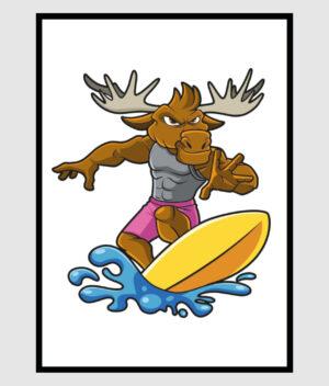 Den Mandige Elg Surferelg Poster 50x70 shop