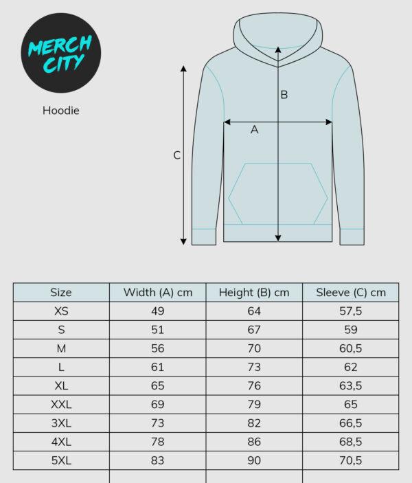 sizeguide hoodie