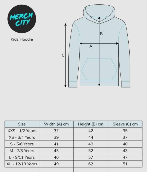 sizeguide hoodie kids